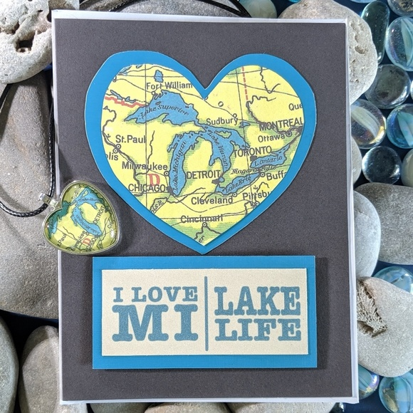Design Chaser Studio Other - I Love MI Lake Life Michigan Map Pendant Card Set